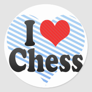 Amo ajedrez pegatina redonda