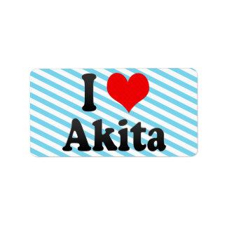 Amo Akita, Japón Etiquetas De Dirección
