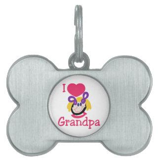 Amo al abuelo placas de nombre de mascota
