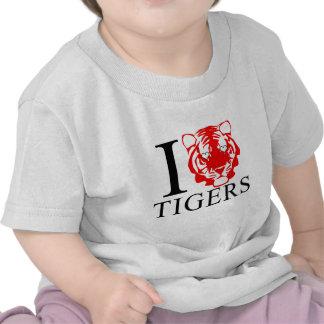 Amo al bebé de los tigres camisetas
