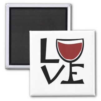 Amo al bebedor del vino rojo imán cuadrado