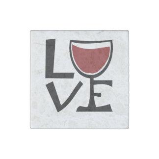Amo al bebedor del vino rojo imán de piedra