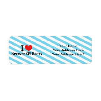 Amo al cervecero de cervezas etiquetas de remite