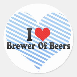 Amo al cervecero de cervezas etiquetas redondas