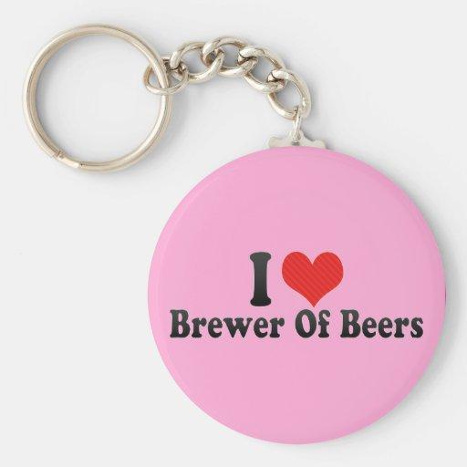 Amo al cervecero de cervezas llavero personalizado