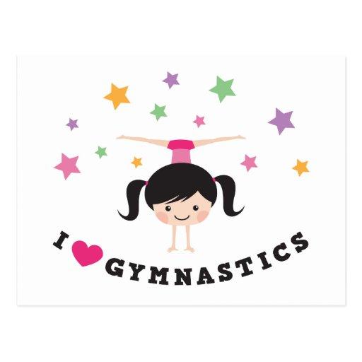 Amo al chica del dibujo animado de la gimnasia que postales