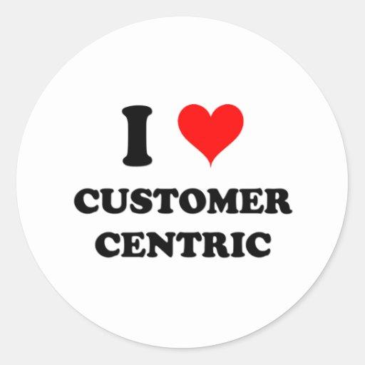 Amo al cliente céntrico pegatinas redondas