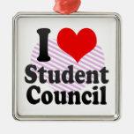 Amo al consejo de estudiantes adorno cuadrado plateado