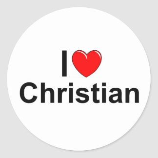 Amo al cristiano (del corazón) pegatina redonda