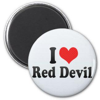 Amo al diablo rojo imán redondo 5 cm