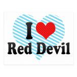 Amo al diablo rojo postales