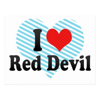 Amo al diablo rojo tarjeta postal