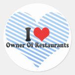 Amo al dueño de restaurantes etiqueta redonda