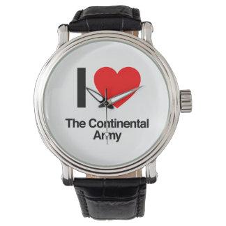 amo al ejército continental relojes de pulsera