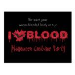 Amo al fiesta de Halloween de la sangre invito Postales