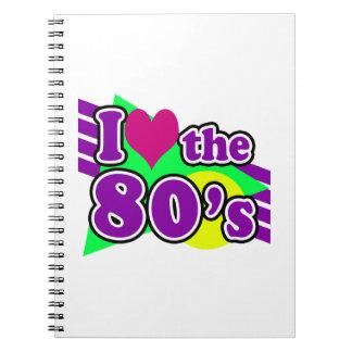 Amo al fiesta de neón geométrico de los años ochen cuadernos