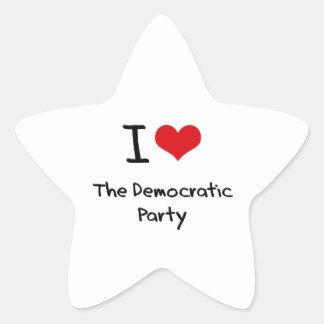 Amo al fiesta Democratic Pegatina En Forma De Estrella