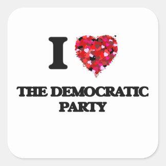 Amo al fiesta Democratic Pegatina Cuadrada