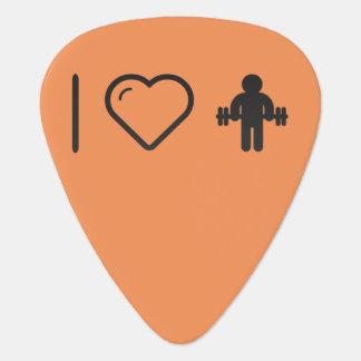 Amo al gimnasta Dumbells Púa De Guitarra