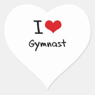 Amo al gimnasta pegatina en forma de corazón