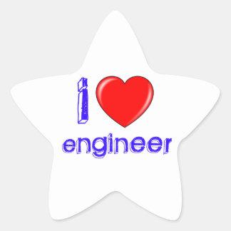 Amo al ingeniero pegatina en forma de estrella