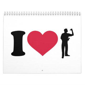 Amo al jugador de dardos calendario