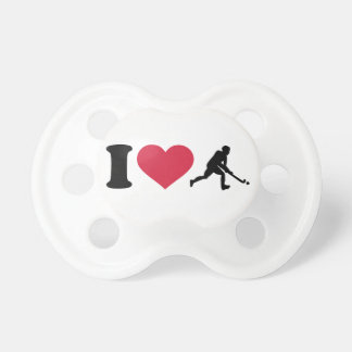 Amo al jugador de hockey hierba chupete de bebe