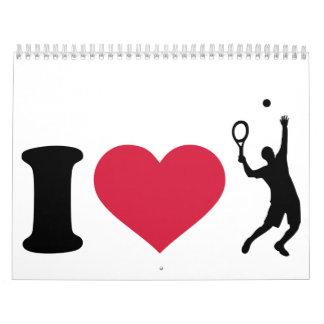 Amo al jugador de tenis calendarios de pared