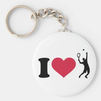 Amo al jugador de tenis llaveros personalizados