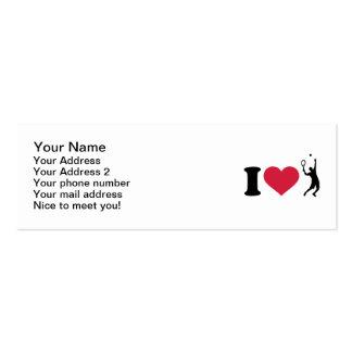 Amo al jugador de tenis tarjetas de visita mini