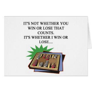 amo al jugador del bakgammon tarjeton