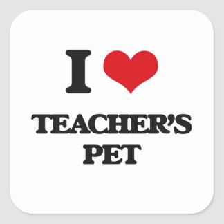 Amo al mascota de los profesores pegatina cuadrada