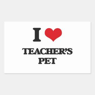 Amo al mascota de los profesores pegatina rectangular