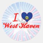 Amo al oeste+Asilo, Vermont Pegatina Redonda