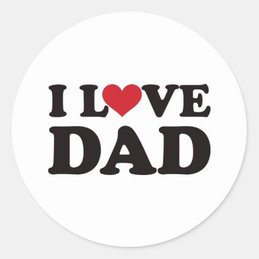 Amo al papá etiquetas redondas
