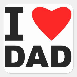 Amo al papá pegatinas cuadradases