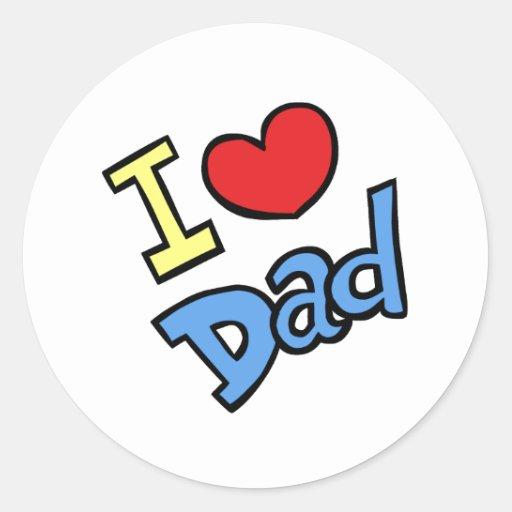 Amo al papá pegatina redonda