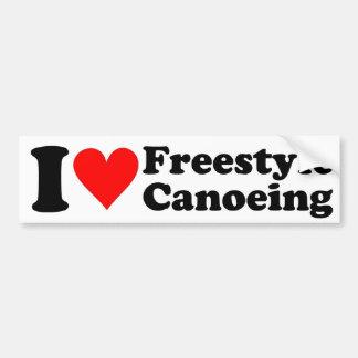 Amo al pegatina Canoeing del estilo libre Pegatina De Parachoque
