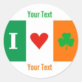 Amo al pegatina conocido de la etiqueta de Irlanda