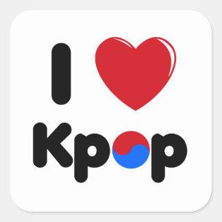 Amo al pegatina cuadrado del kpop
