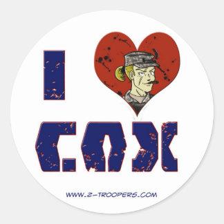 Amo al pegatina de $cox