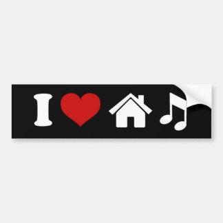 Amo al pegatina de la música de la casa pegatina para auto