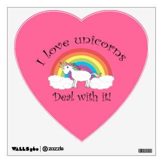 Amo al pegatina de la pared de los unicornios vinilo
