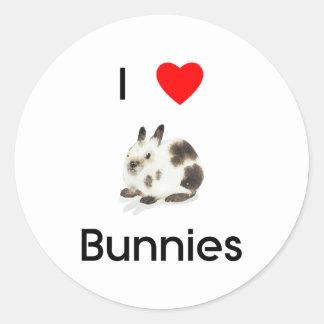 Amo al pegatina de los conejitos