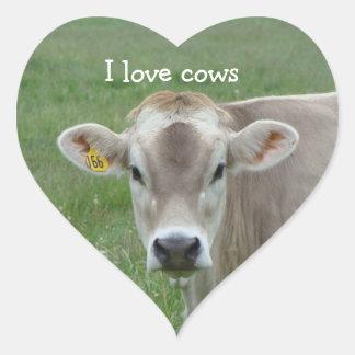 Amo al pegatina del corazón de las vacas