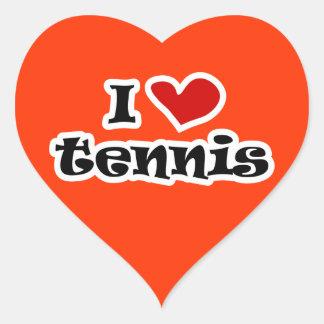Amo al pegatina del tenis - forma del corazón