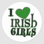 Amo al pegatina irlandés de los chicas