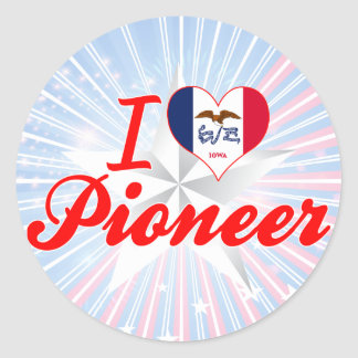 Amo al pionero, Iowa Pegatina Redonda