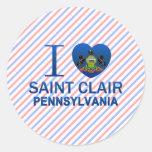 Amo al santo Clair, PA Pegatina Redonda