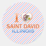 Amo al santo David, IL Pegatina Redonda